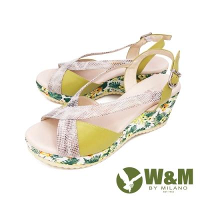 W&M(女) 繁花楔型厚底彈力涼鞋 女鞋 -黃(另有藍)