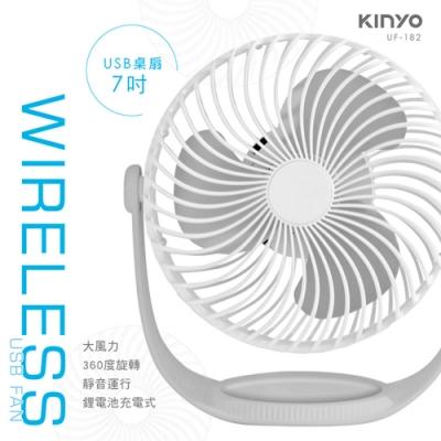 KINYO 7吋 3段速USB充電式電風扇 顏色隨機