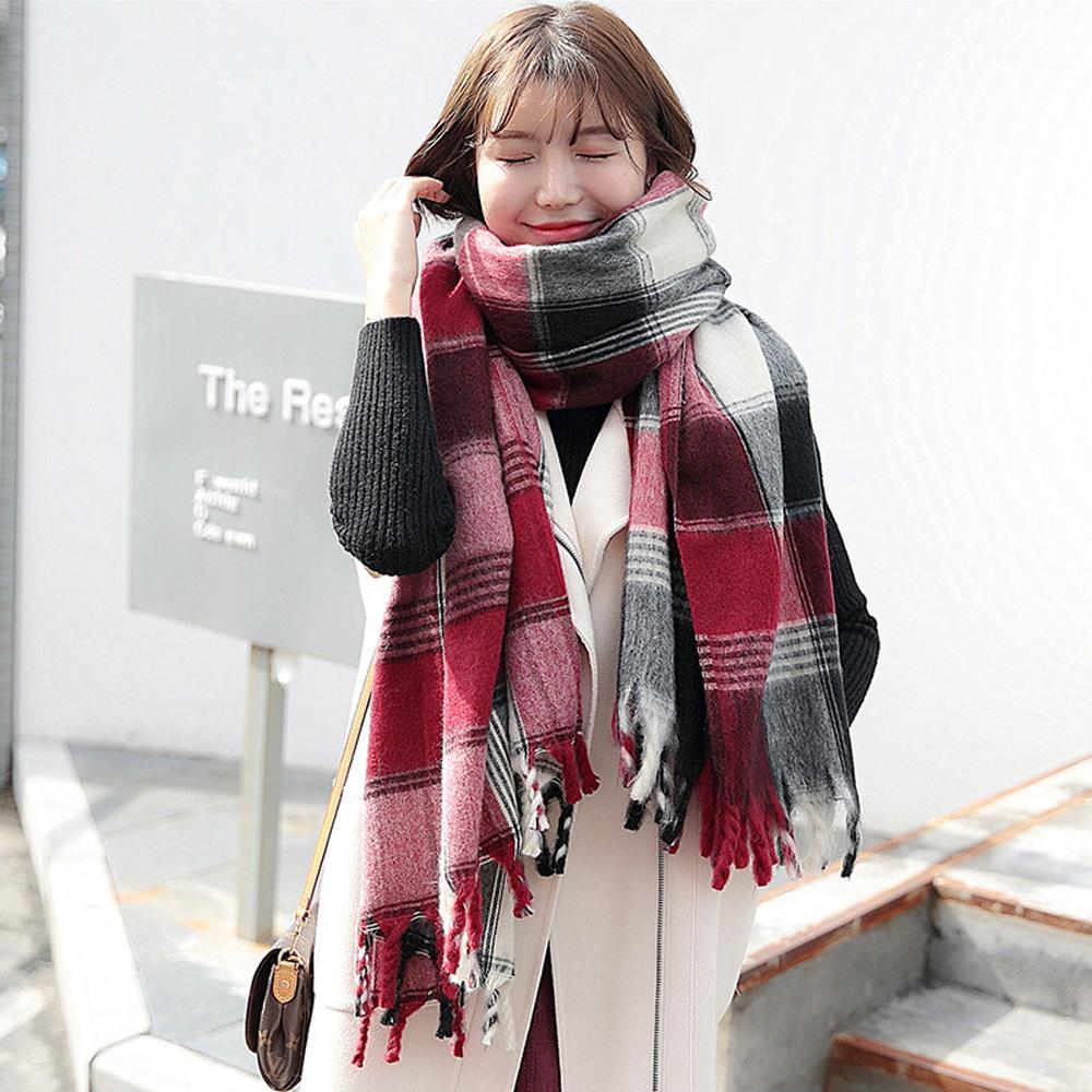 梨花HaNA 經典不敗格子學院紅圍巾披肩 @ Y!購物