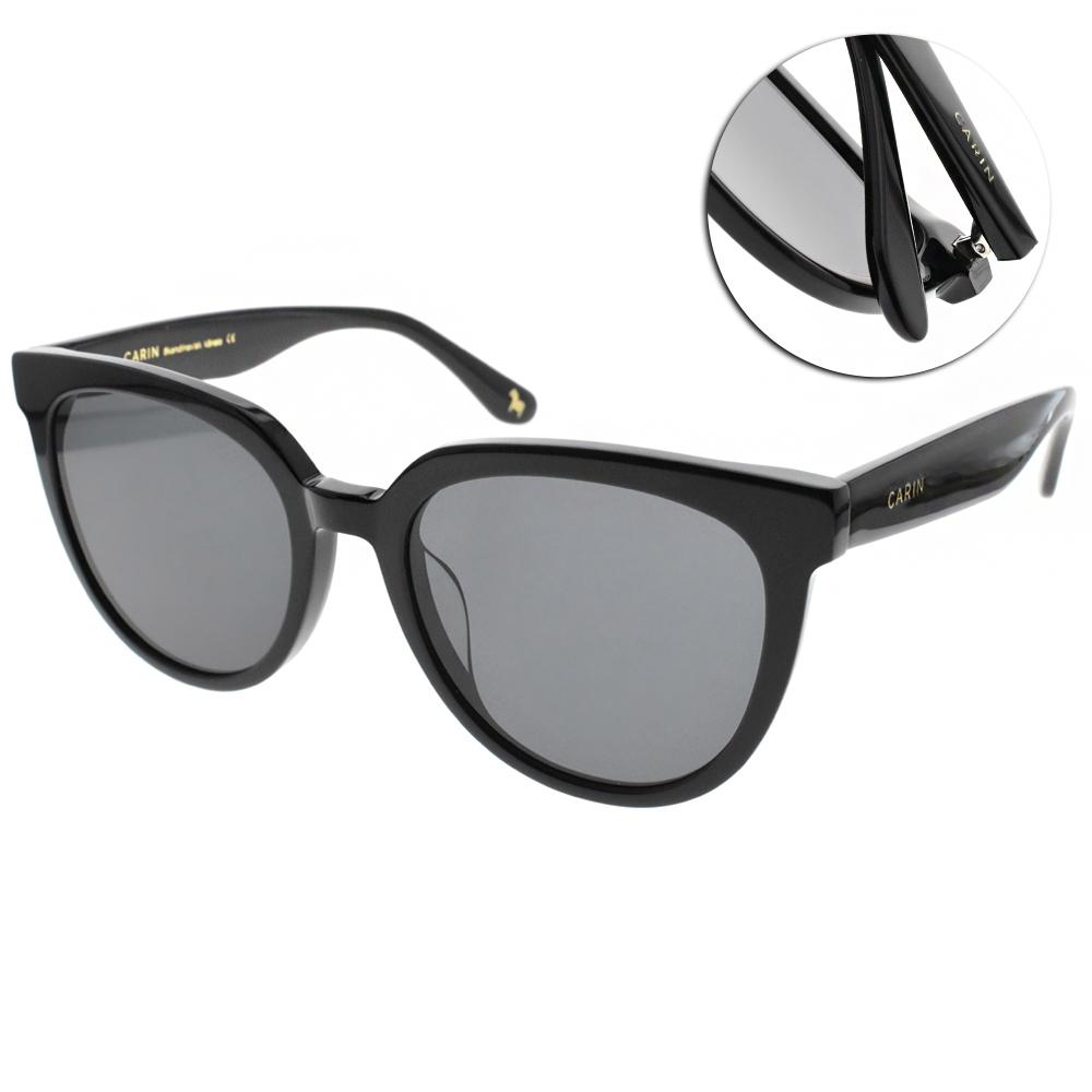CARIN太陽眼鏡 韓系優雅微貓眼款/黑-灰鏡片 # KIRSTEN C1