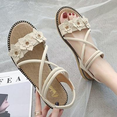 KEITH-WILL時尚鞋館 獨家款花朵涼鞋-米