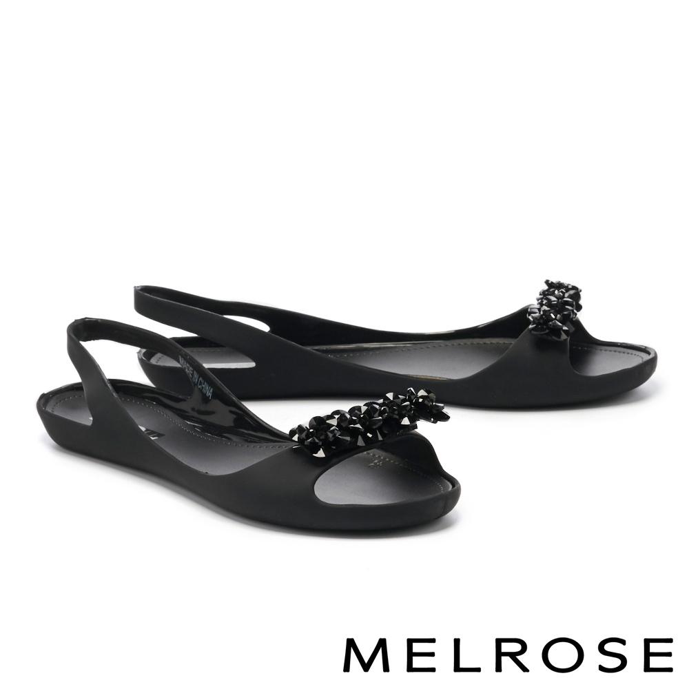 涼鞋 MELROSE 質感水鑽後繫帶防水低跟涼鞋-黑