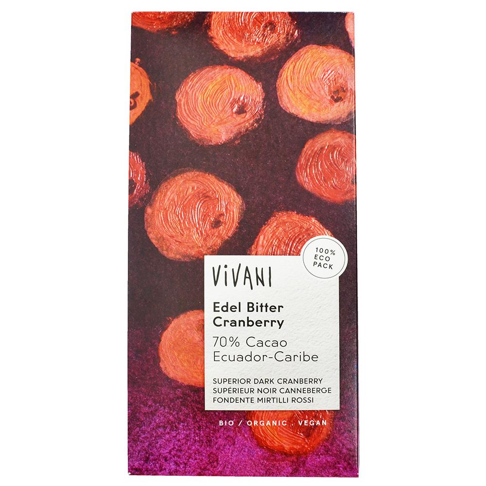 Vivani 有機70%黑巧克力片-蔓越莓(100g)