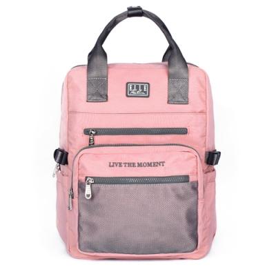 ELLE Active 透視網布系列-手提後背包-粉紅色