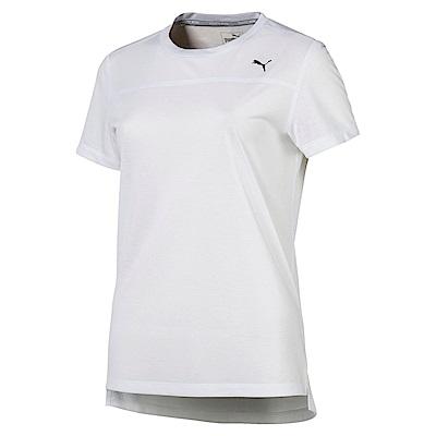 PUMA-女性慢跑系列素色短袖T恤-白色-歐規