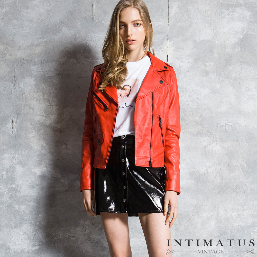 INTIMATUS 真皮 騎士風簡約設計小羊皮皮衣 熱情紅