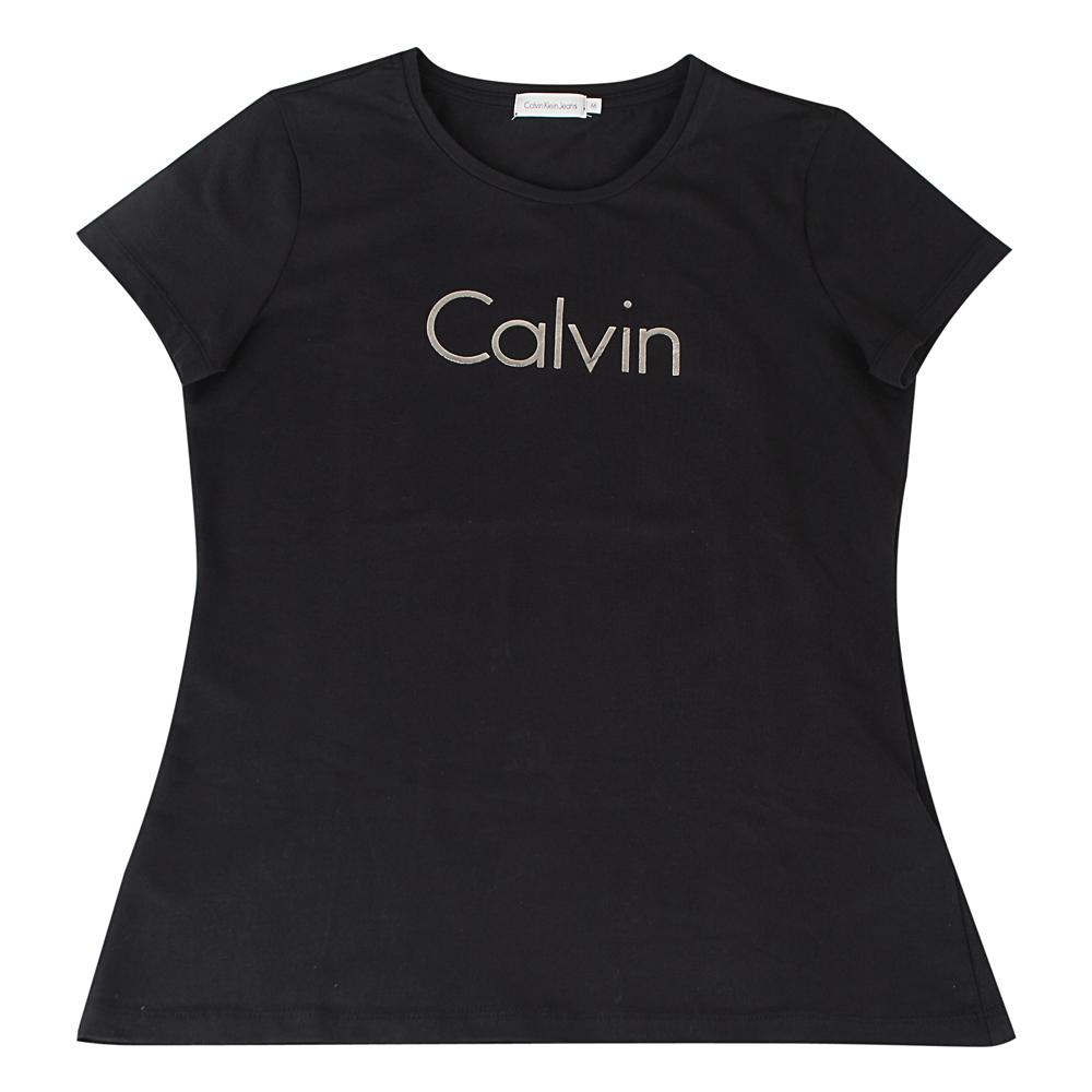 CK Calvin Klein 經典雙面銀字燙金字母LOGO造型短袖T恤(炭灰)