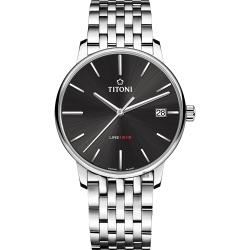 TITONI 梅花錶 LINE1919 百年紀念 T10 機械錶-炭黑x銀/40mm