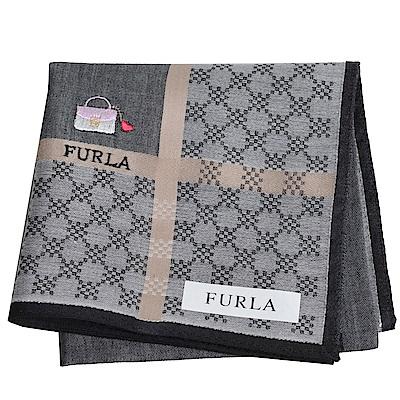 FURLA IT BAG 經典包包圖騰品牌字母LOGO帕領巾(黑灰系)