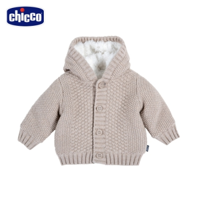 chicco-TO BE Baby-毛絨裡連帽針織外套