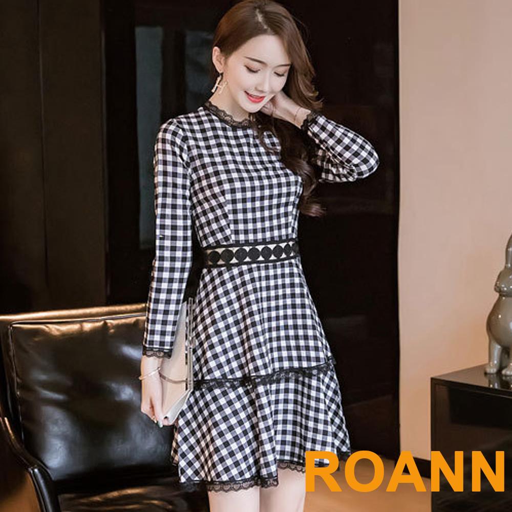 甜美格紋拼接花邊蕾絲蛋糕裙洋裝 (格紋)-ROANN