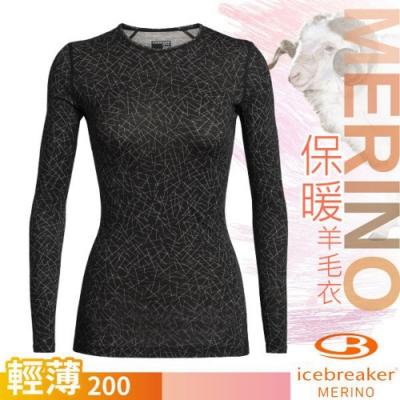 Icebreaker 女 200 Oasis 輕薄款長袖圓領上衣_黑/天際線條