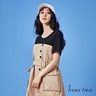 beartwo-假兩件排釦洋裝(附腰帶)-卡其