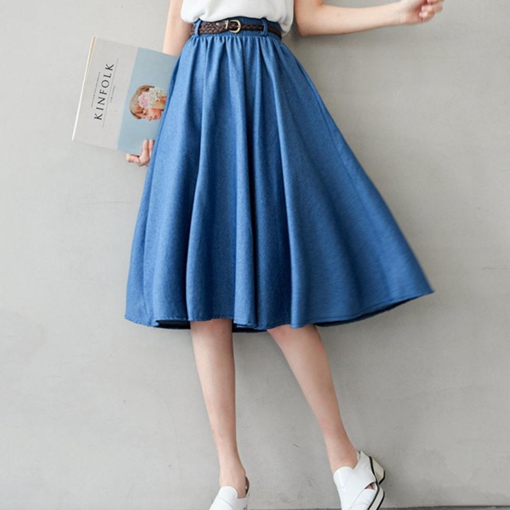 Lockers 木櫃 氣質牛仔A字傘狀半身裙(附腰帶)-2色