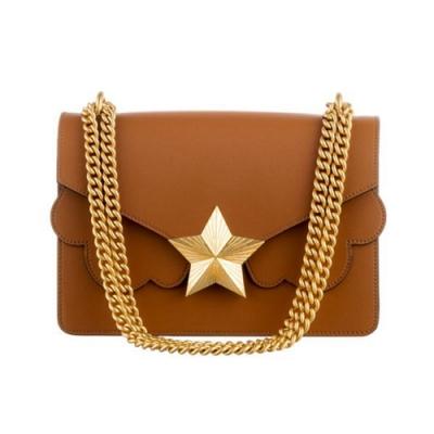 les jeunes etoiles義大利品牌 復古金色星星真皮皮革單肩包 焦糖棕