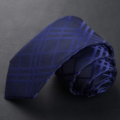 Laifuu拉福,藍格紋領帶7cm中版領帶手打領帶