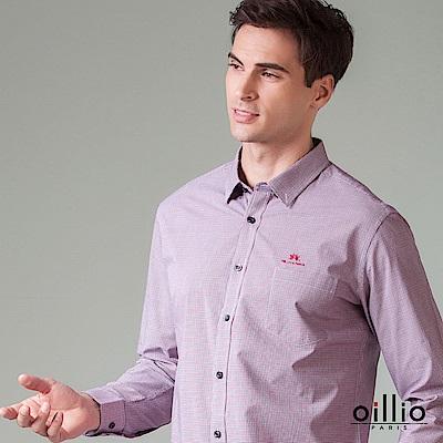 歐洲貴族 oillio 長袖襯衫 純棉修身款 休閒商務皆宜 紅色