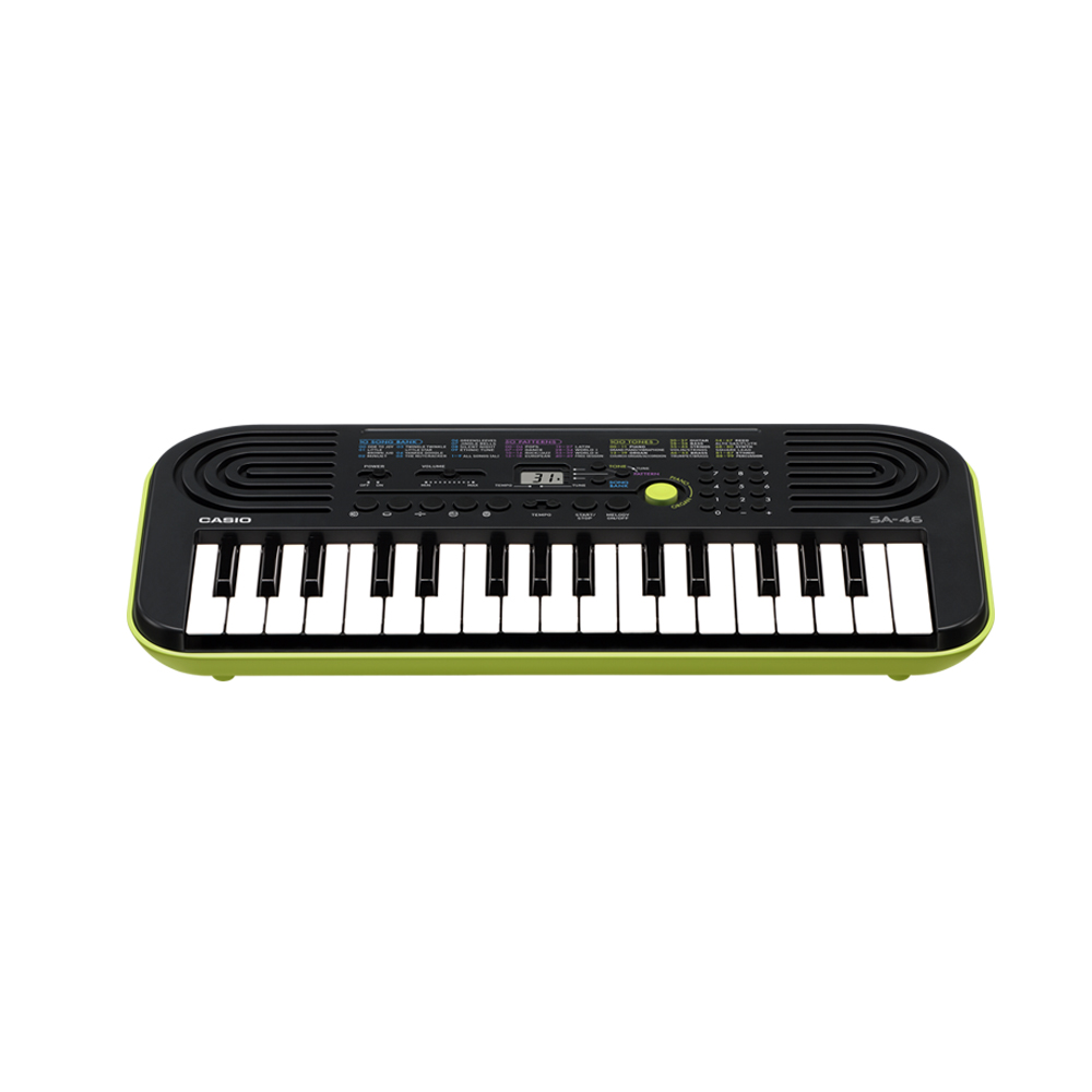 CASIO卡西歐 32鍵迷你電子琴幼兒適用SA-46(綠色含變壓器)