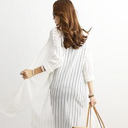 正韓 鏤空線條薄款長袖針織開衫外套 (共二色)-N.C21