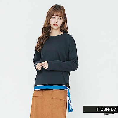 H:CONNECT 韓國品牌 女裝-織帶配色側綁帶上衣-藍 - 動態show