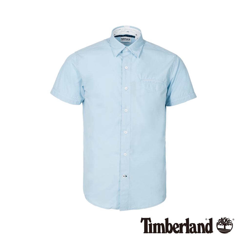 Timberland 男款天空藍修身短袖襯衫 A1WWZ