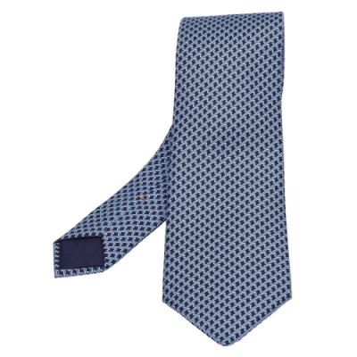 HERMES 經典Cravate系列圖案純絲領帶(藍X黑)