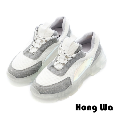Hong Wa 復古拼接布面綁帶老爹鞋 - 白