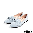 viina Basic羊絨布大蝴蝶結尖頭平底鞋 - 藍