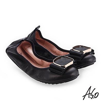 A.S.O輕履鞋 小羊皮立體釦飾可折疊娃娃鞋 黑