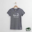 女裝Roots海狸繡線T恤-藍