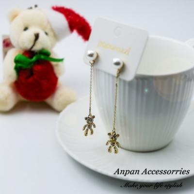 【ANPAN愛扮】韓大門珍珠閃鑽可愛小熊925銀針耳釘式耳環
