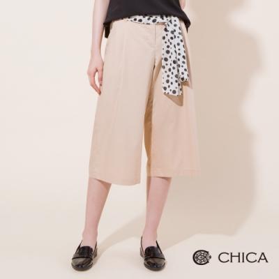 CHICA 圓點綁帶打摺七分寬褲(2色)
