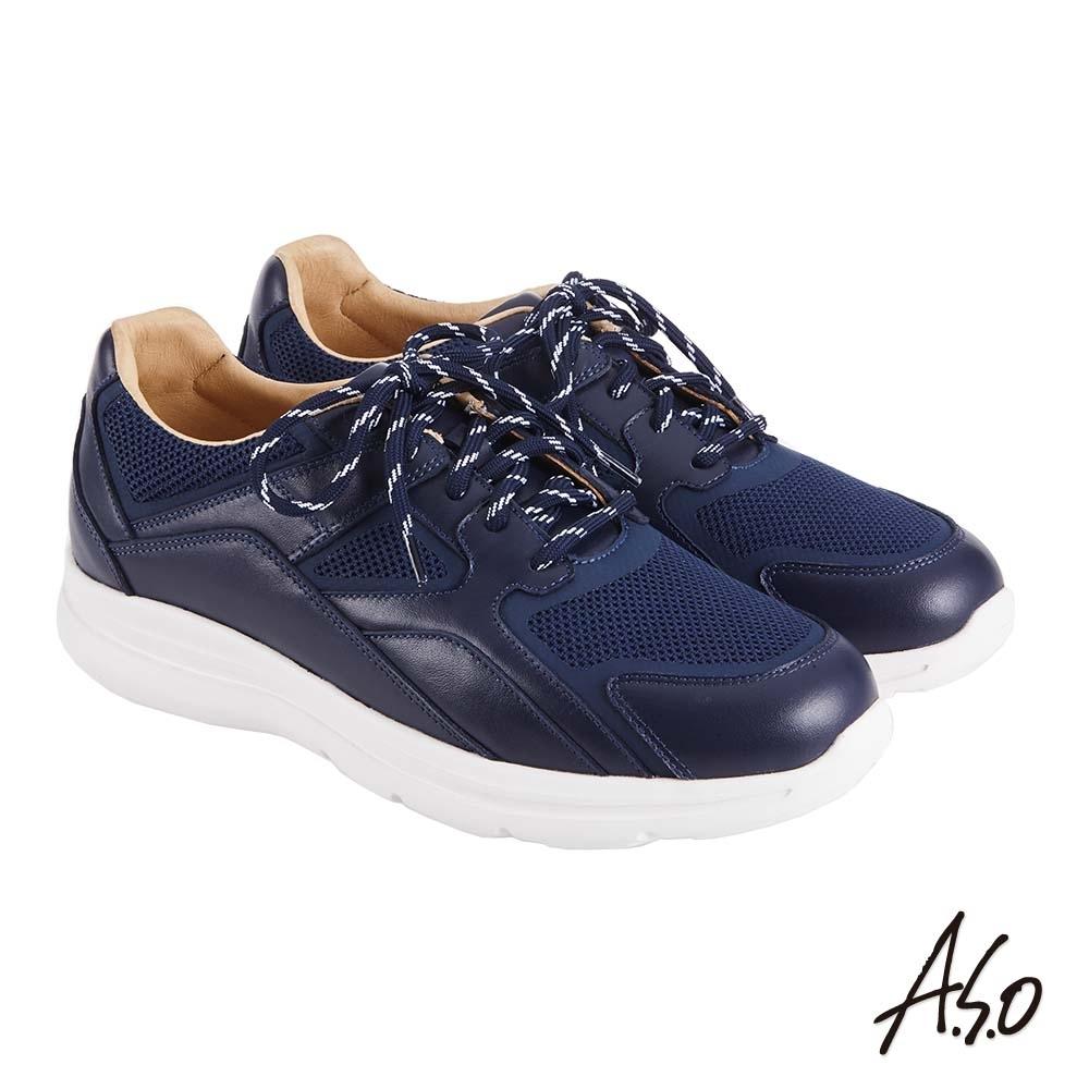 A.S.O 機能休閒 萬步健康鞋 牛皮拼接透氣網布休閒鞋-藍