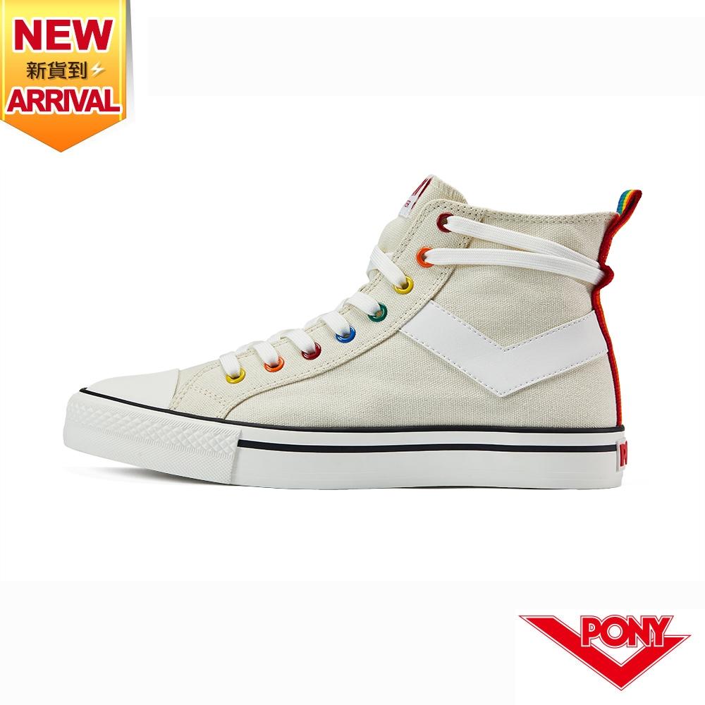 【PONY】Shooter帆布鞋 高筒 彩虹後跟 休閒鞋 男鞋/女鞋-米色