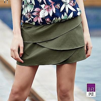 ILEY伊蕾 層次造型彈力褲裙(黑/綠)