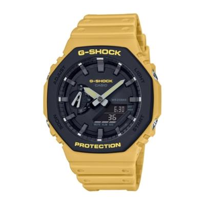 CASIO 卡西歐 G-Shock系列 街頭風格雙顯電子錶-黑黃/48.5mm