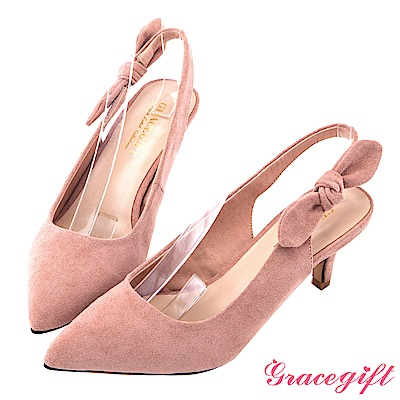 Grace gift-優雅蝴蝶結後縷空細跟鞋 粉