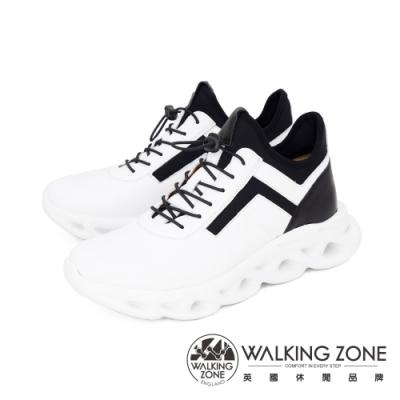 WALKING ZONE(男) 羊皮高筒彈力扣運動休閒鞋 男鞋 - 白(另有黑)
