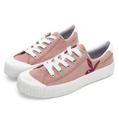 PLAYBOY 彩糖電繡兔頭帆布鞋-粉-Y570699