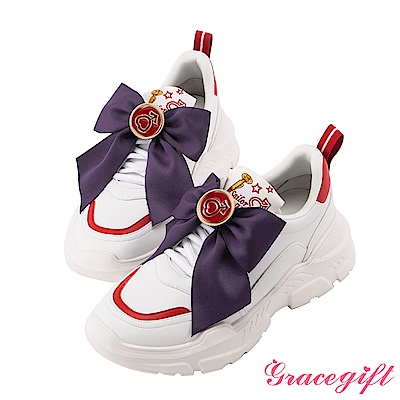 Grace gift-美少女戰士變身器緞帶厚底老爹鞋 紅