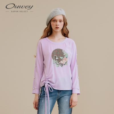 OUWEY歐薇 格紋花卉印花雪紡上衣(紫)