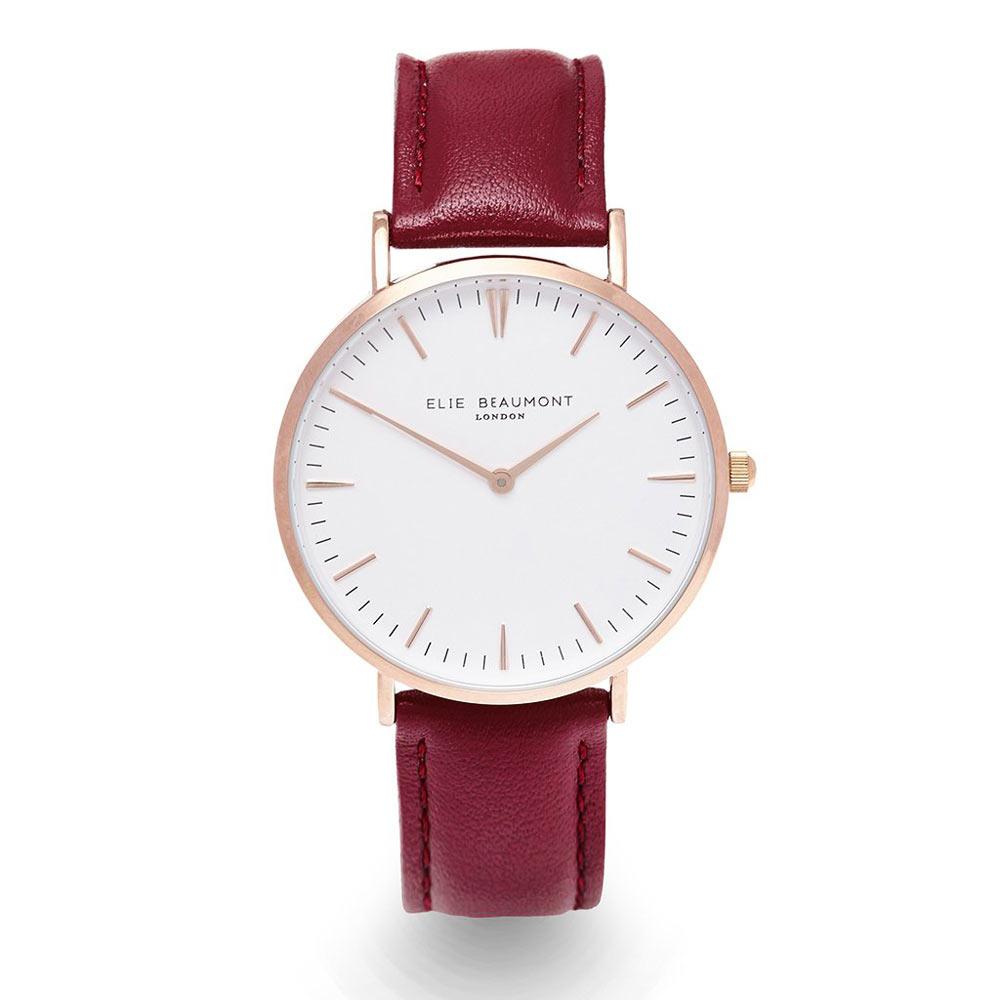 Elie Beaumont 英國時尚手錶 牛津系列 白錶盤x勃地根紅錶帶x玫瑰金框38mm