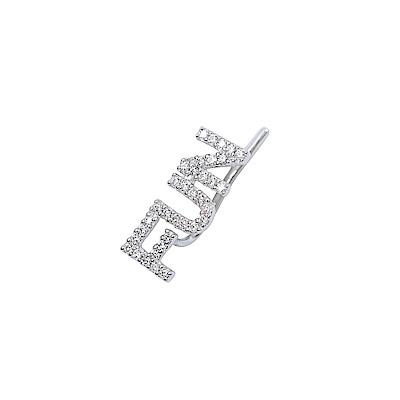 apm MONACO法國精品珠寶 閃耀銀色FUN字母單邊勾式耳環