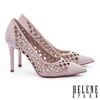 高跟鞋 HELENE SPARK 奢華迷人晶鑽珍珠菱格鏤空全真皮尖頭高跟鞋-粉