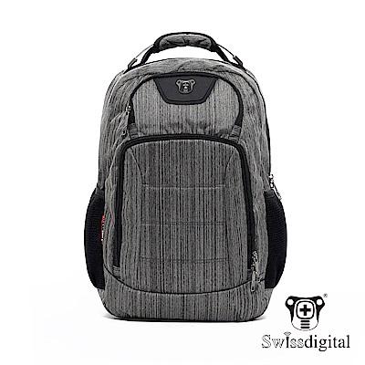 Swissdigital 時尚典型絲紋後背包-黑