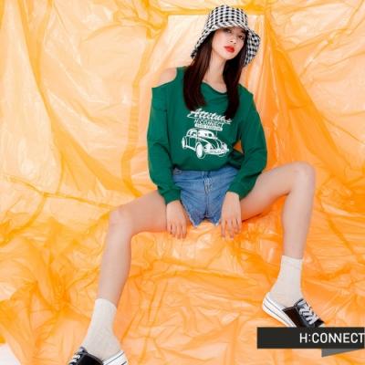 H:CONNECT 韓國品牌 女裝 -不對稱露肩圖印上衣-綠