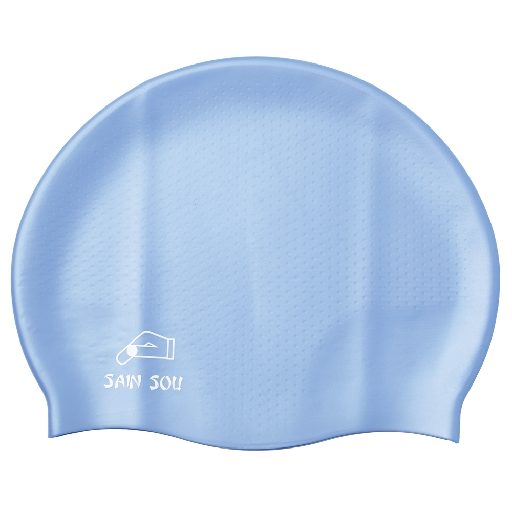 聖手牌 泳帽 防滑透氣水藍矽膠泳帽