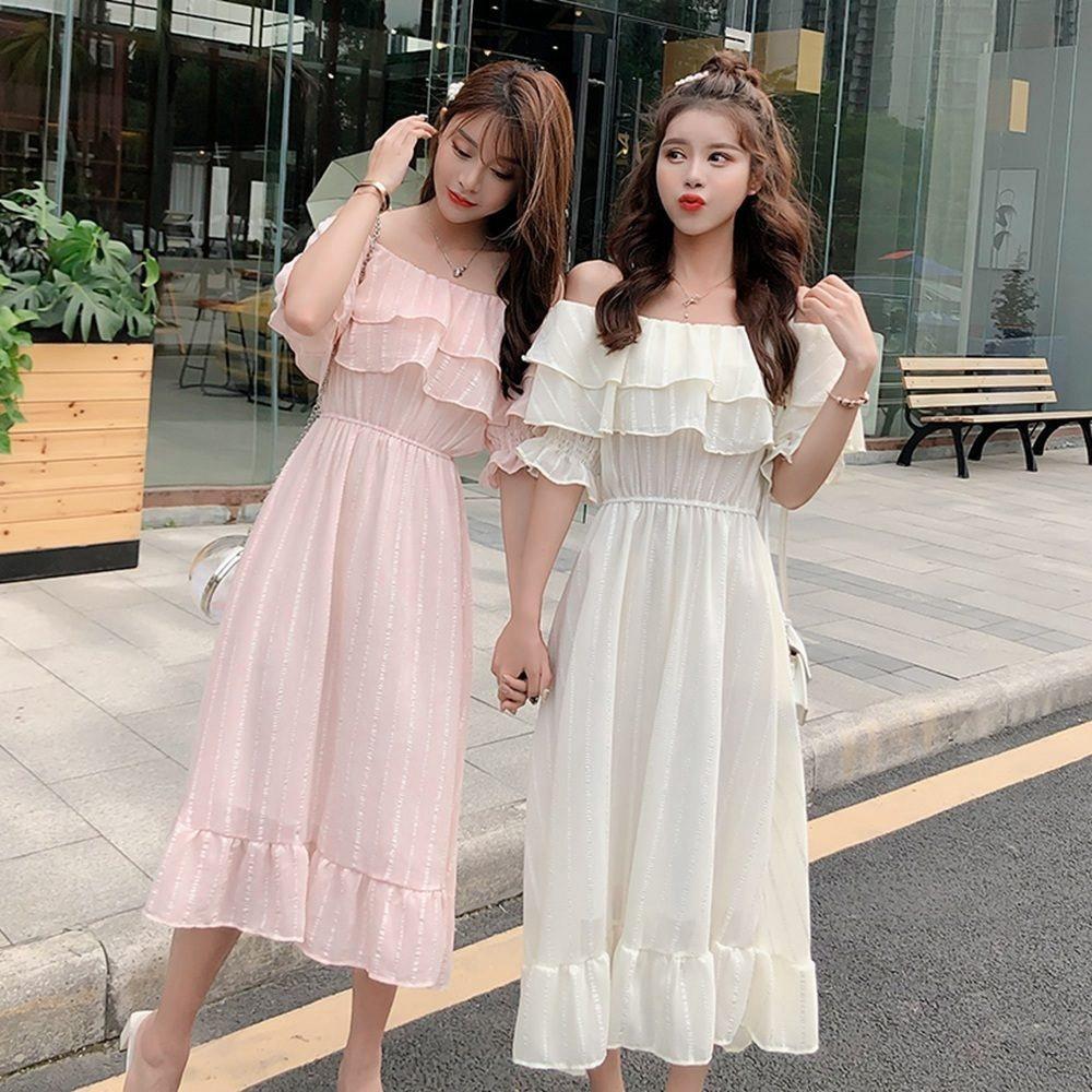 夏日浪漫性感荷葉領平口洋裝(共四色)S-XL-Dorri