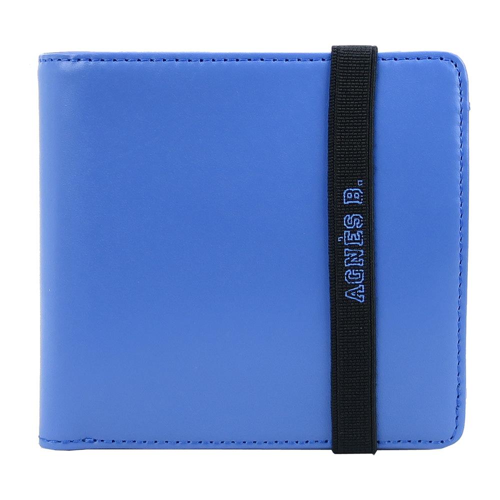 agnes b.LOGO束帶皮革短夾(內含零錢袋)(藍)