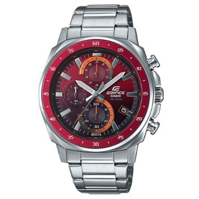 EDIFICE前衛混搭漸層風格碼錶圈造型計時腕錶-紅黑雙色面x紅框(EFV-600D-4A)/43.8mm